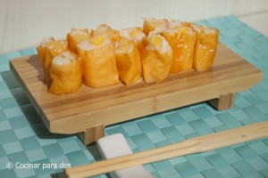 Falso sushi de mango con Soy Wraps