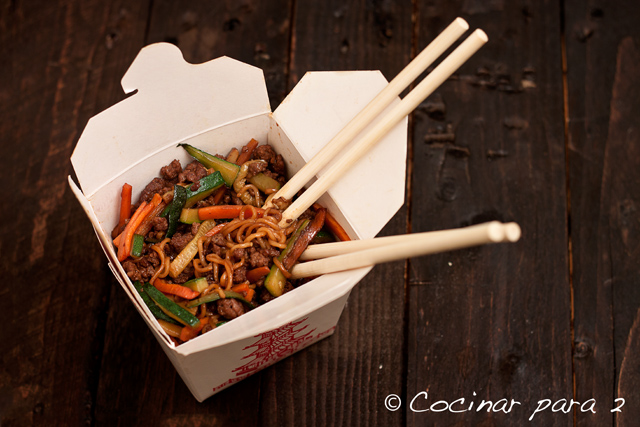 Fideos con verduras o fideos chinos